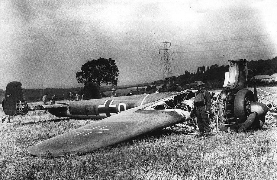 Actual WWII aircraft pictures - AXIS Do17Z-shotdownatLeavesgreen-nearBig