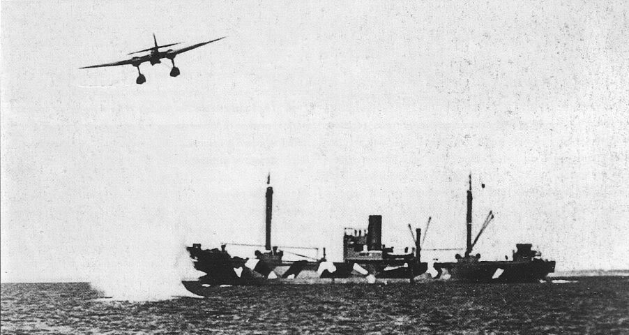 Actual WWII aircraft pictures - AXIS He-115attacksamerchantshipinthechan
