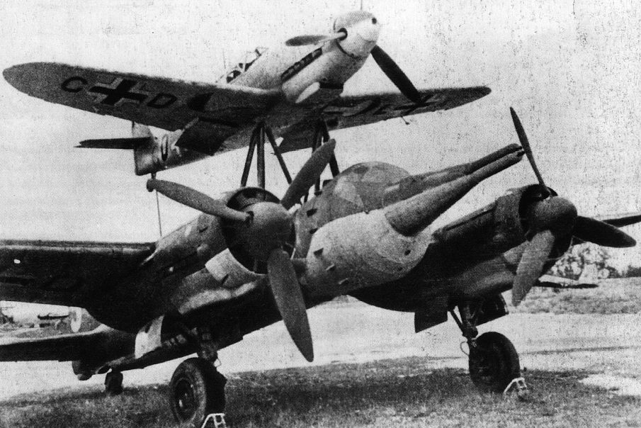 Actual WWII aircraft pictures - AXIS Mistel1-Bf109FJu88