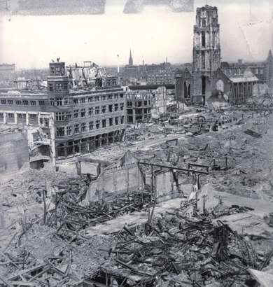 Operation Fall Gelb, Attack on Holland 10th may 1940 Rotterdamafterthebombardment