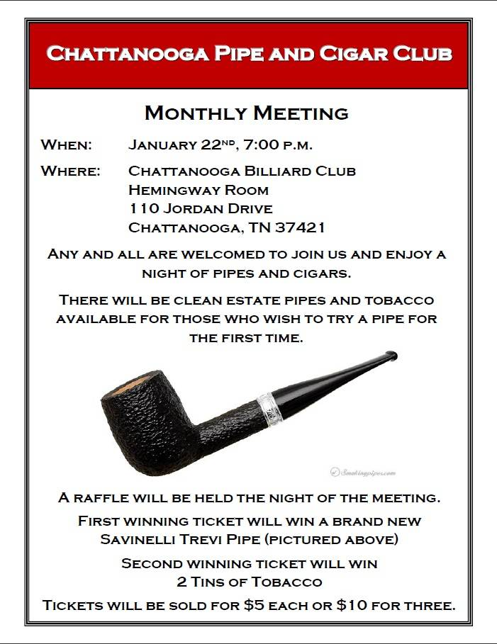 Chattanooga Pipe Club January Meeting  PipeClubJanuaryMeeting