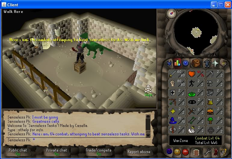 Senseless Taks = Completed at 65 Combat!!! New Record FTW? Luck