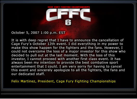 UPDATE: Cage Fury Fighting Championship 6 Is OFF Newhero