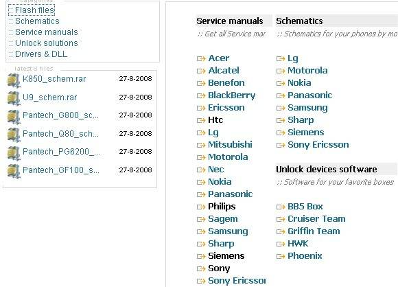 Flash files :: Schematics :: Service manuals :: Unlock solutions :: Drivers & DLL Untitled-6