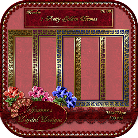 3 Pretty Golden Frames - By: Joanne's Digital Designs JDD-3-Pretty-Golden-Frames-CU-Fr-1