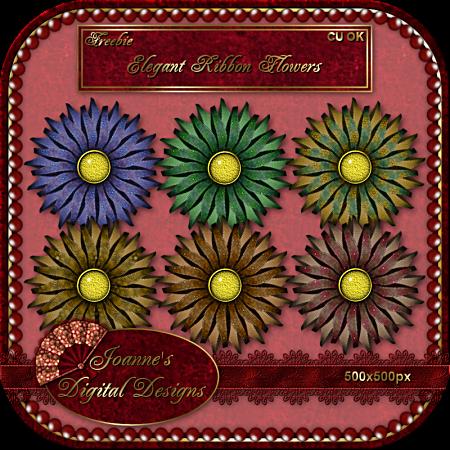 Elegant Ribbons - Joanne's Digital Designs JDD-CU-elegant-ribbon-flowers-previ