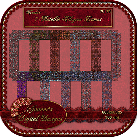 7 Filigree Frames In Various Colors By: Joanne's Digital Designs JDD-Filigree-FramesCUFreebiePrev-1