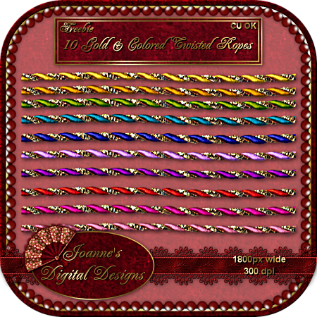 10 Gold & Colored Twisted Ropes - By: Joanne's Digital Designs JDD-Gold-and-Colored-Twisted-Rop-1