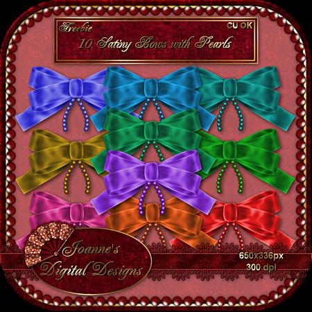 10 Satiny Ribbons w/pearls - By: Joanne's Digital Designs JDD-SatinBows-CU-Freebie-Preview