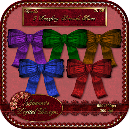 5 Dazzling, Satiny Brocade Bows - By: Joanne's Digital Designs JDD5BrocadeBowsCUFreebiePreview-new