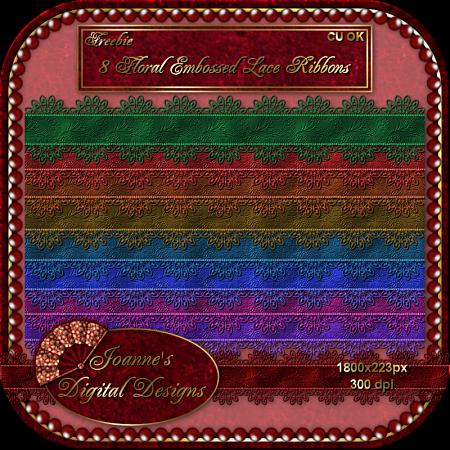 8 Floral Embossed Lace Ribbons - By: Joanne's Digital Designs JDD8FloralEmbossedLaceRibbonsCUF-1
