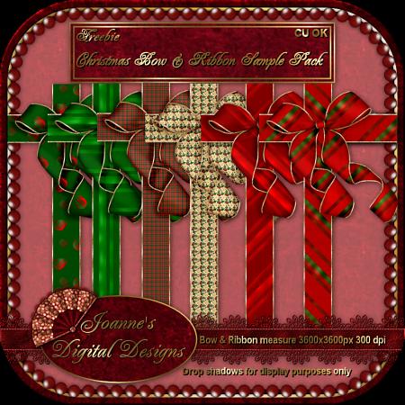 Christmas Bow & Ribbon 2 by JoanneM JDDChristmasBowRibbon2SamplePreview