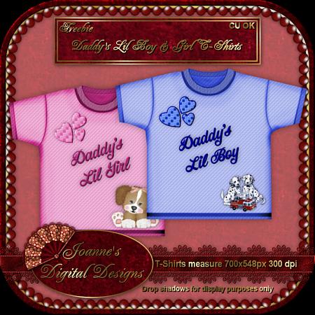 Daddy's Lil Boy & Girl T-Shirts JDDDaddysLilBabiesT-ShirtsCUFreebie