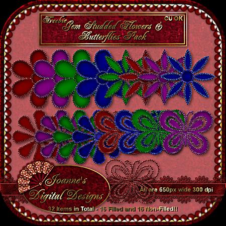 Gem studded flowers and butterflies - By: Joanne's Digital Designs JDDFlowersButterfliesGemsPreview