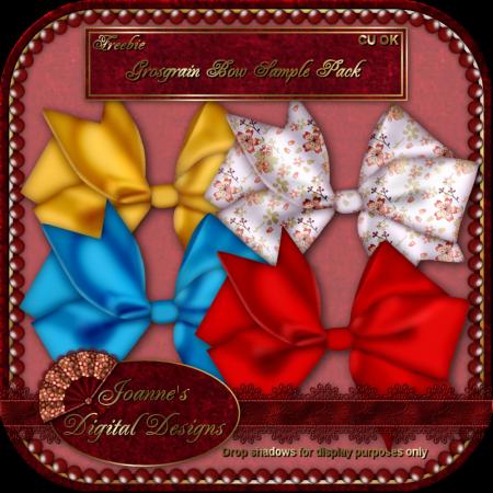 Grosgrain Bow with Satin Edging Sample Pack (Joanne's Digital Designs) JDDGrosgrainBowSamplePackPreview