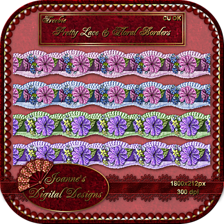 Pretty Lace & Flral Borders - By: Joanne's Digital Designs JDDLaceFloralBordersCUFreebiePre-1