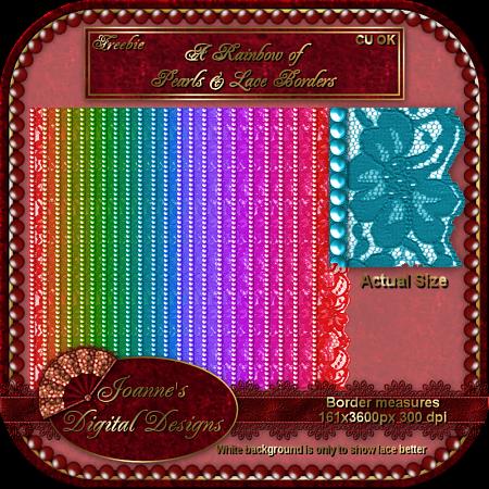 New CU Blog Freebie - A Rainbow of Lace & Pearl Borders JDDLacePearlsBorderCUFreebiePreview