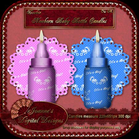 Newborn Baby Bottle Candles (Joannes Digital Designs) JDDNewbornBabyBottleCandlesCUFreebi
