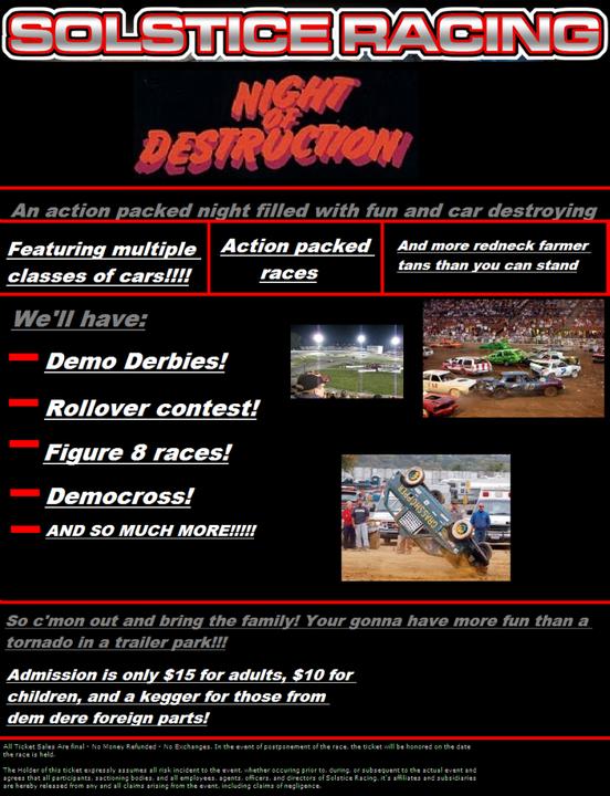 The Solstice Racing Night of Destruction! Nightofdestructionproposal