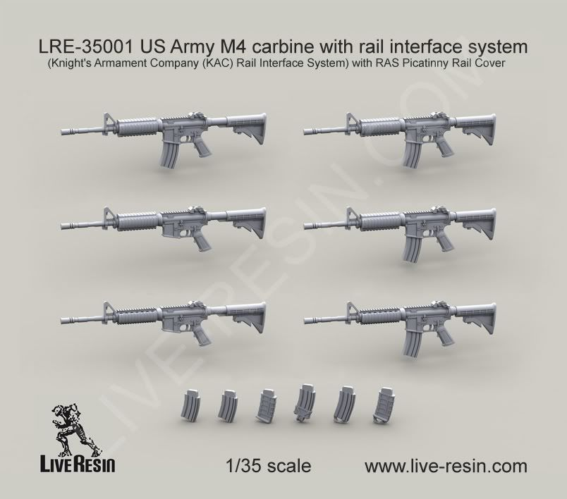 Live Resin 35001 US Army M4 carbine with rail interface system  350012