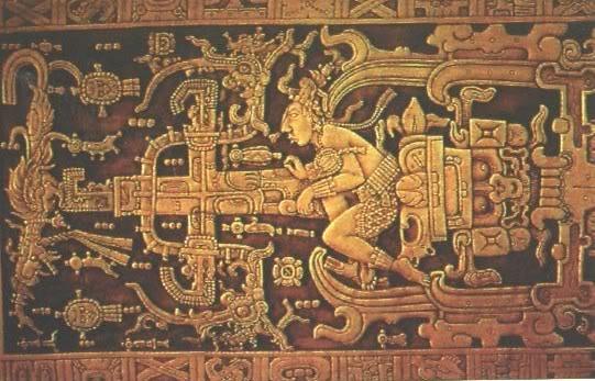 L'OVNI dans la pyramide Mayaspalenque