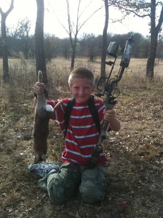 My 6 year olds 1st Bow kill HunterTX2010Rabbit