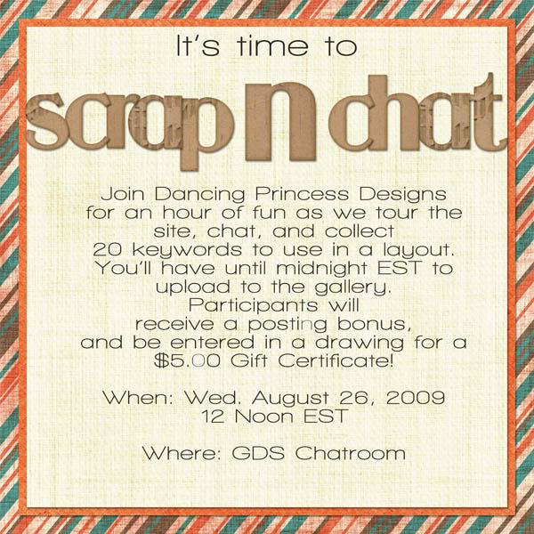 Scrap N Chat  Wednesday 8/26 AugSSannounce
