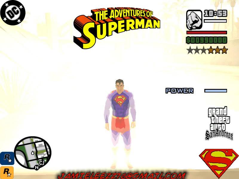 سوبر مان داخل لعبة gta san andreas اعجوبة اليس كذلك+trainars SupermanLands