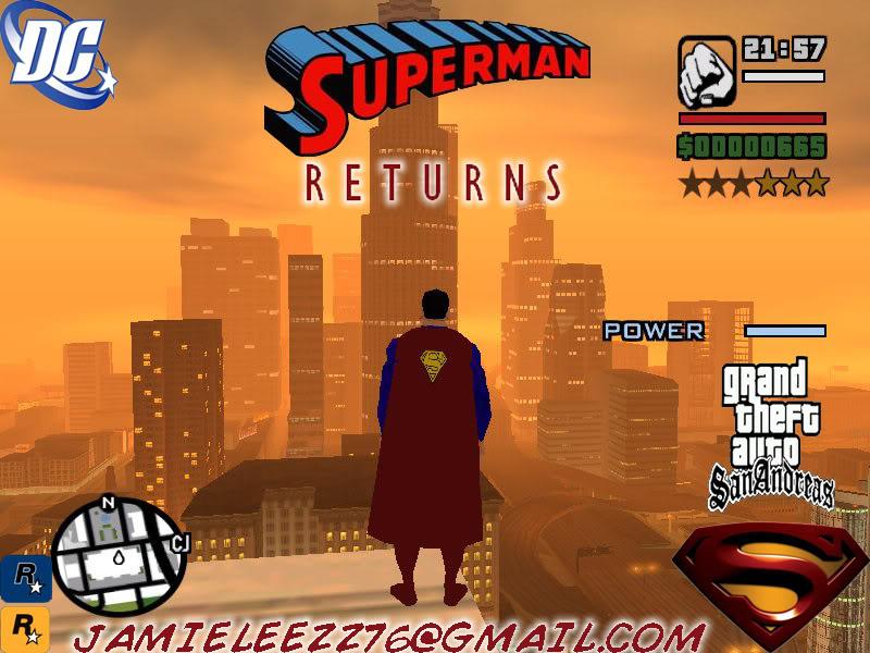 سوبر مان داخل لعبة gta san andreas اعجوبة اليس كذلك+trainars SupermanReturns3