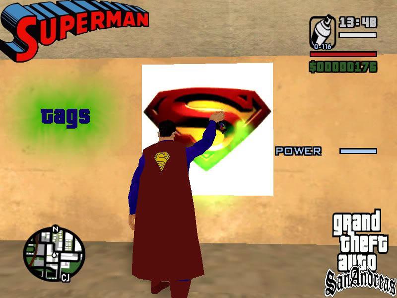 سوبر مان داخل لعبة gta san andreas اعجوبة اليس كذلك+trainars SupermanReturnsTags