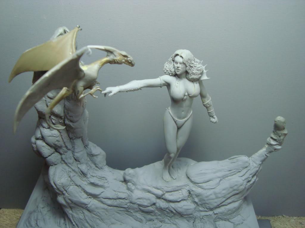 Vinheta  ¨Domadora de dragões ¨ 54mm Escultura em durepox DSC05839