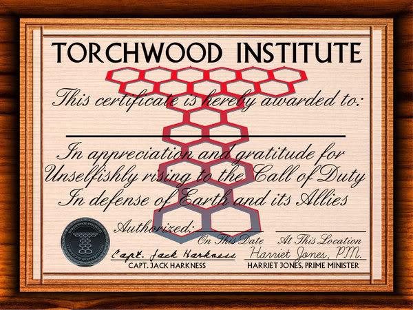 Tempalates TorchwoodCertificate