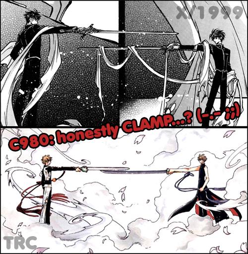 Cenas crossover entre X e Tsubasa Bysyaoran