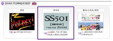 """SS501 Seúl Encore """"Asia Persona Tour"""" Número 1 en Ventas en el sitio de Ticket Interpark Screenshot2010-01-27at123907PM"""