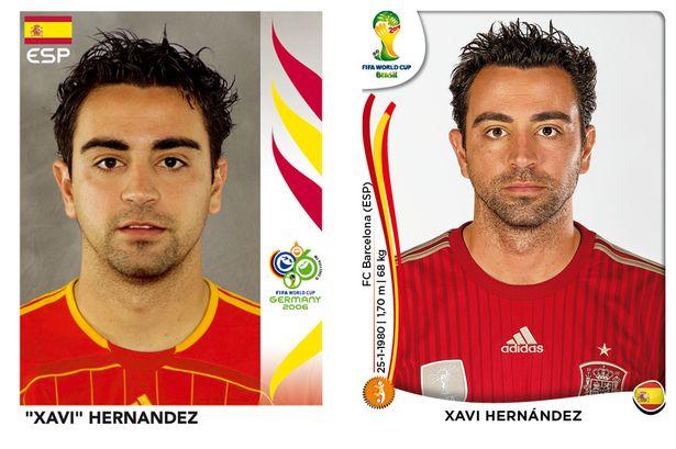 El antes y después de los jugadores de fútbol en los cromos del mundial Xavi-Hernandez