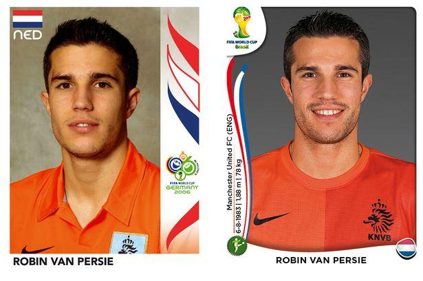 El antes y después de los jugadores de fútbol en los cromos del mundial Robin-Van-Persie