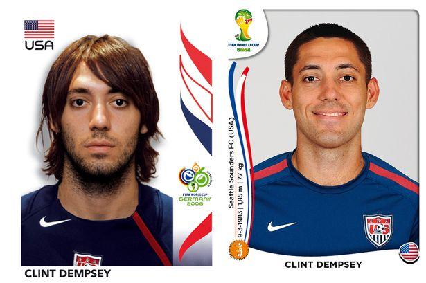 El antes y después de los jugadores de fútbol en los cromos del mundial Clint-Dempsey