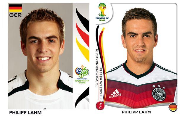 El antes y después de los jugadores de fútbol en los cromos del mundial Philipp-Lahm