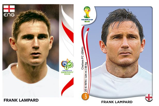 El antes y después de los jugadores de fútbol en los cromos del mundial Frank-Lampard