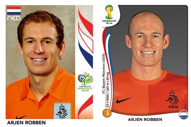 El antes y después de los jugadores de fútbol en los cromos del mundial Arjen-Robben