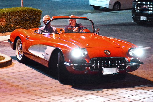 George Clooney and his friend out for dinner at Kazu Sushi in Studio City with his Corvette 17. Sept 2015  PAY-George-Clooney-1958-Chevy-convertible-red-Corvette