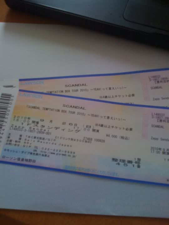 「SCANDAL TEMPTATION BOX TOUR 2010」 Scandaltickets