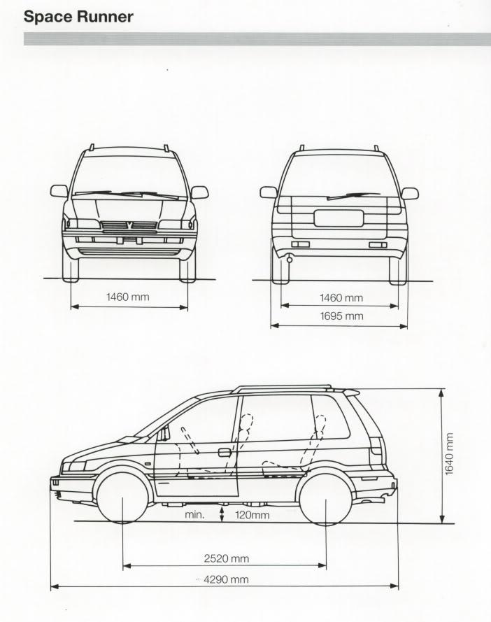 Medidad Interiores de Furgos y 4x4 Mitsubishi_Space_Runner_1991_Zeichn