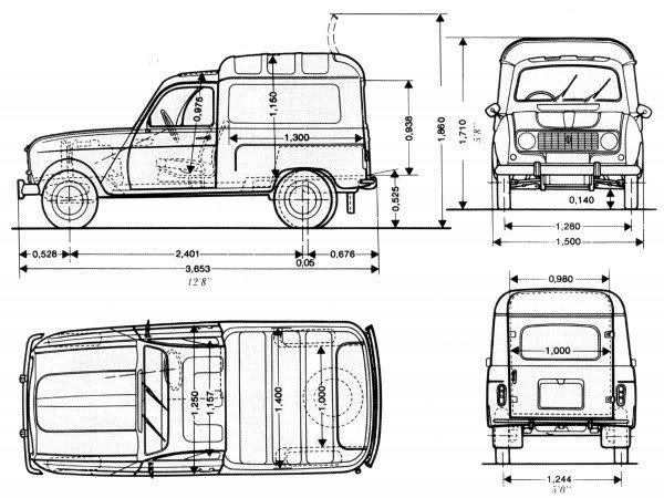 Medidad Interiores de Furgos y 4x4 Renault-4f