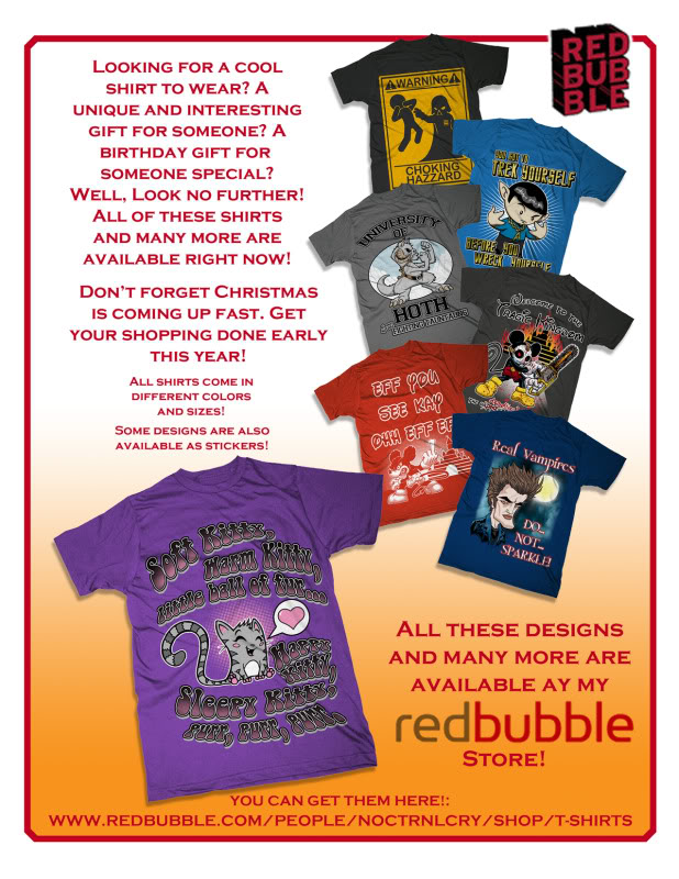 MORE T-SHIRT STUFF FROM NOCTRNLCRY! Take a look!!! REDBUBBLEAD1
