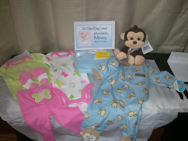 My awesome prizes for 2nd place in Naked baby painted hair 2012-02-13150119