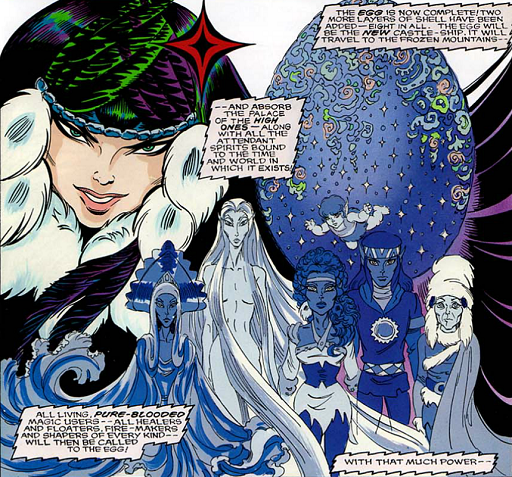 REFERENCE : MAGIC IN ELFQUEST P133_EggMeantToAbsorbThePalaceAndSpirits_POWER_HUNGER