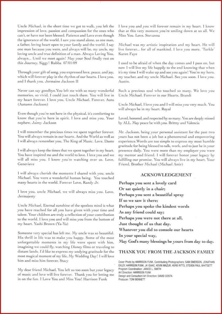 Michael Jackson Memorial Program Book Michaeljackson14