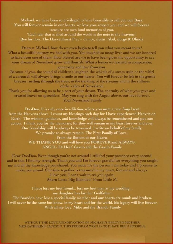 Michael Jackson Memorial Program Book Michaeljackson15