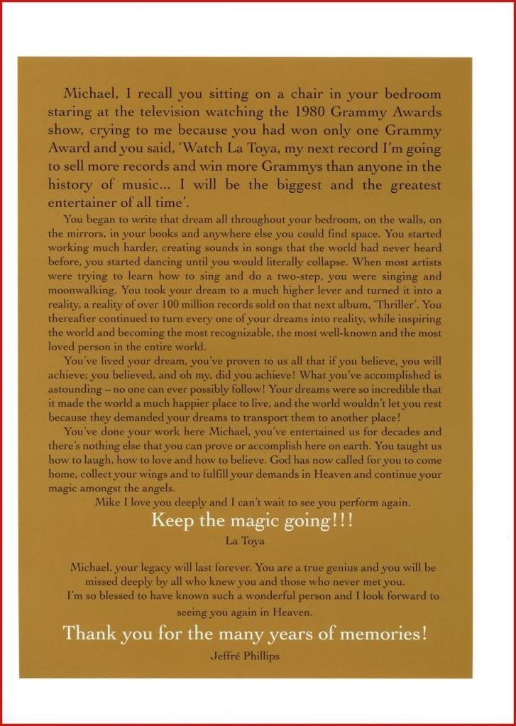 Michael Jackson Memorial Program Book Michaeljackson3
